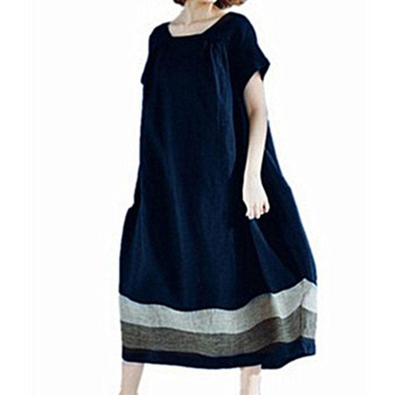 Autumn Girls Dress Cotton Linen Printed Dress Loose Long Sleeve Ladies Dresses Vintage Dress Plus Size S-5xl Sales Of Quality Assurance Women's Clothing