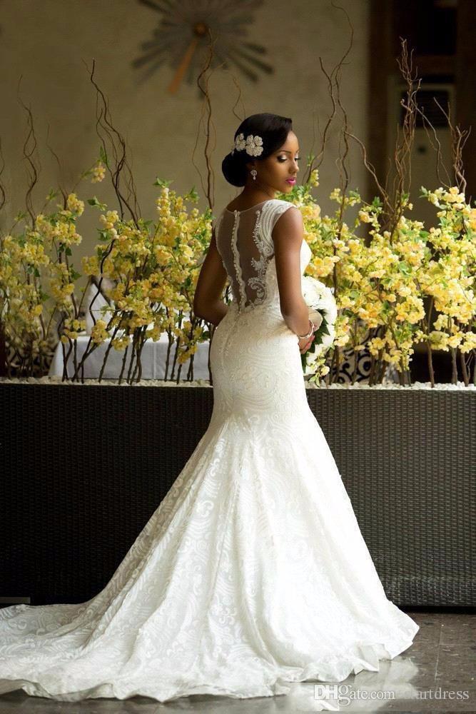 2018 afrikanische Land-Brautkleider Mermaid Jewel Sweep Zug Brautkleider mit Spitze Applique Plus Size Brautkleider