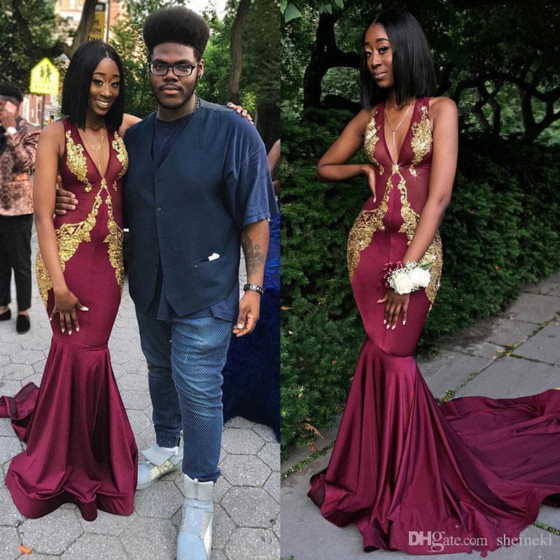 2018 borgoña africana profundo cuello en V sirena vestidos de baile apliques de oro de talla grande vestidos de mujer negro niña vestidos de noche formales