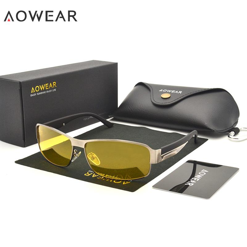 7e4cb52f29 AOWEAR Night Driving Glasses Men HD Night Vision Glasses UV400 Polarized  Yellow Sunglasses For Men Driver Goggles Oculos Sol A47 Designer Glasses  Sunglasses ...