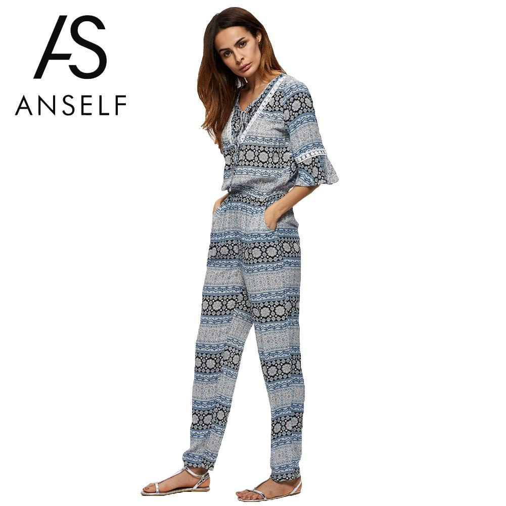 729475c0293 2019 Anself Fashion Floral Print Rompers Womens Jumpsuit V Neck Summer  Casual Long Party Playsuit Sexy Bodysuit Women Beach Overalls From Lucu