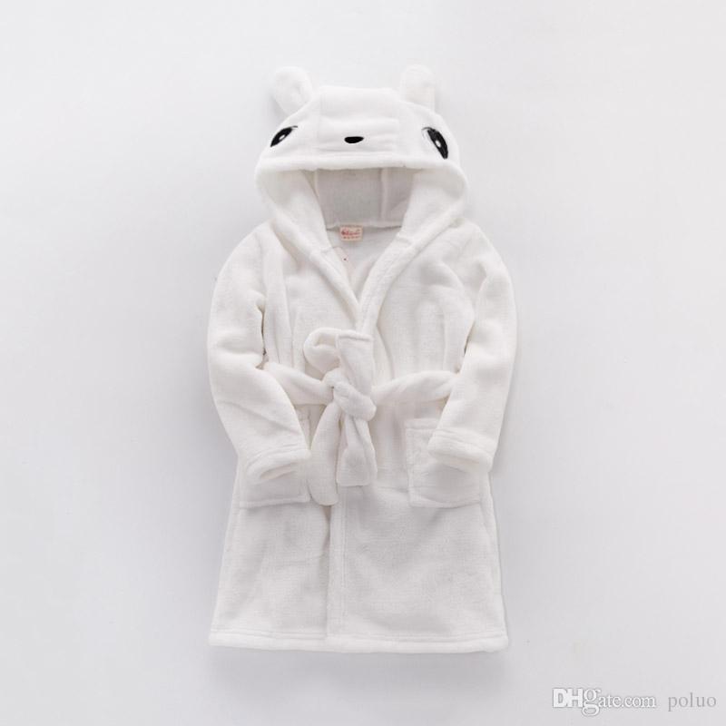 2b5bfd0ee0 Children S Bathrobes Boy Girl Animal Flannel Robes Baby Bathrobe Kids  Hooded Bath Soft Velvet Pajamas Sleepwear Homewear White Fleece Pjs For Girls  Baby ...