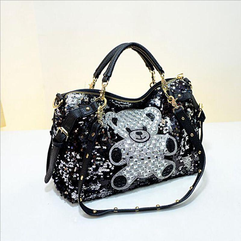 e647d2b24266 Luxury Famous Brand Women Female Sequined Bags Leather Hello Kitty Handbags  Shoulder Tote Bolsos Mujer De Marca Sac De Marque Handmade Leather Bags  Totes ...
