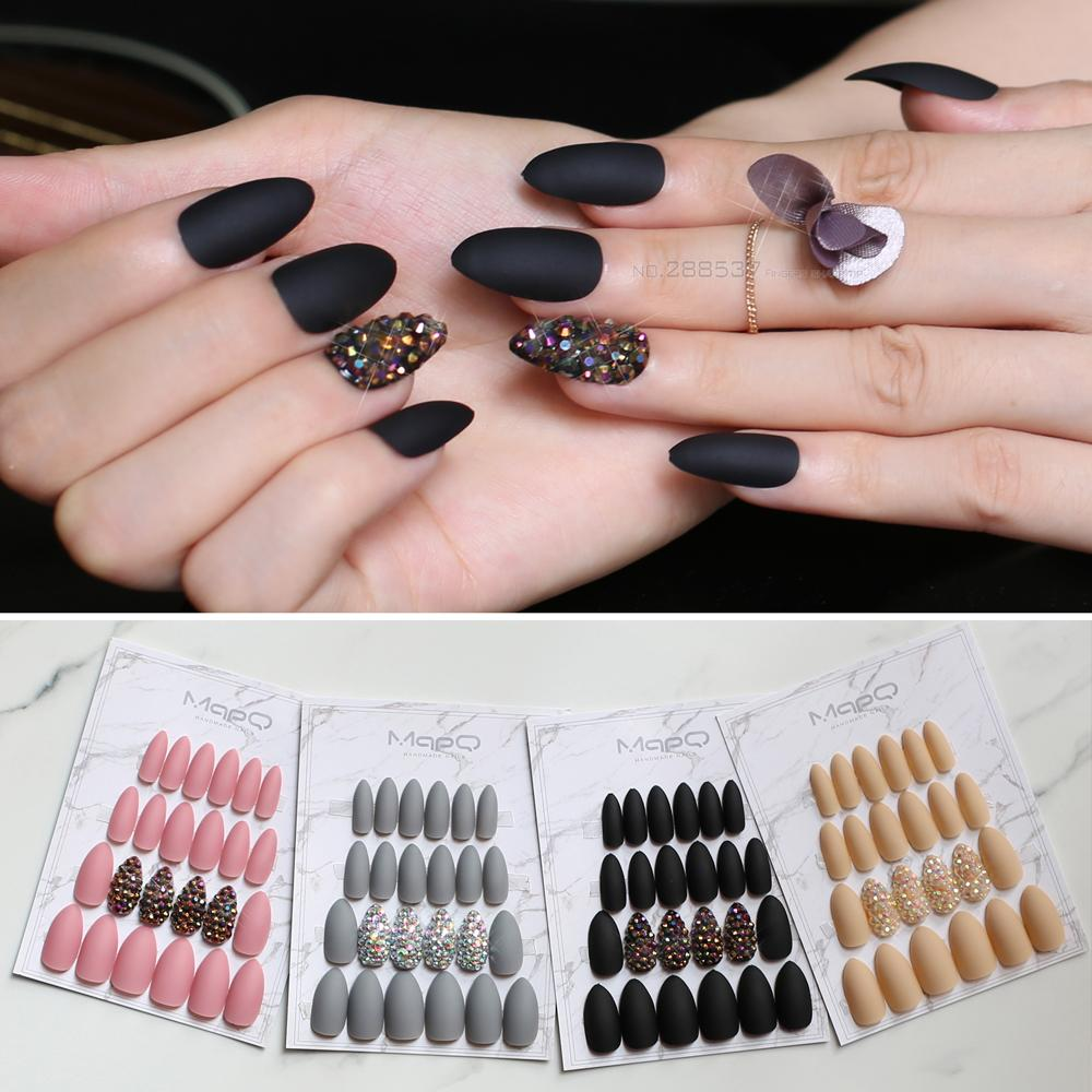 Matte Pink Press On Nails Bling Crystal Nail Art False Short Pointed