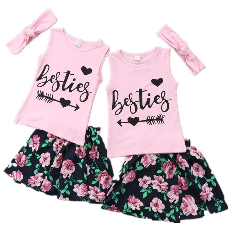 ea123f24e3e6 2019 CANIS Summer 1 6Y Kids Girl Cotton Besties Letter Sleeveless Vest T  Shirt Tops Party Princess Skirt Clothes Outfits Set From Deve, $35.2 |  DHgate.Com