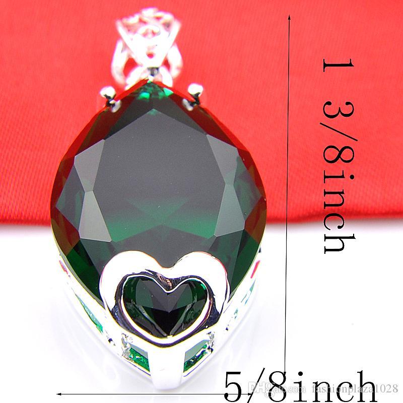 特別オファー10ピース/ロットラッジーシンゴージャスな光沢のあるハート型グリーンクォーツ宝石シルバーネックレスペンダントジュエリー