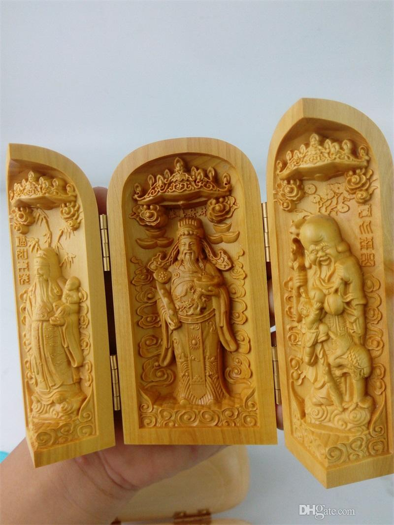 2018 chinese boxwood carved three gods floding box art home living