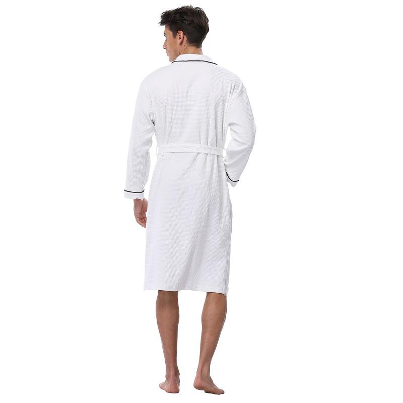 Men's Waffle Cotton Robes Long Sleeve Kimono Bath Robes Terry Cloth Winter Pijamas Knee-Length Men's Spa Bathrobe Sleepwear
