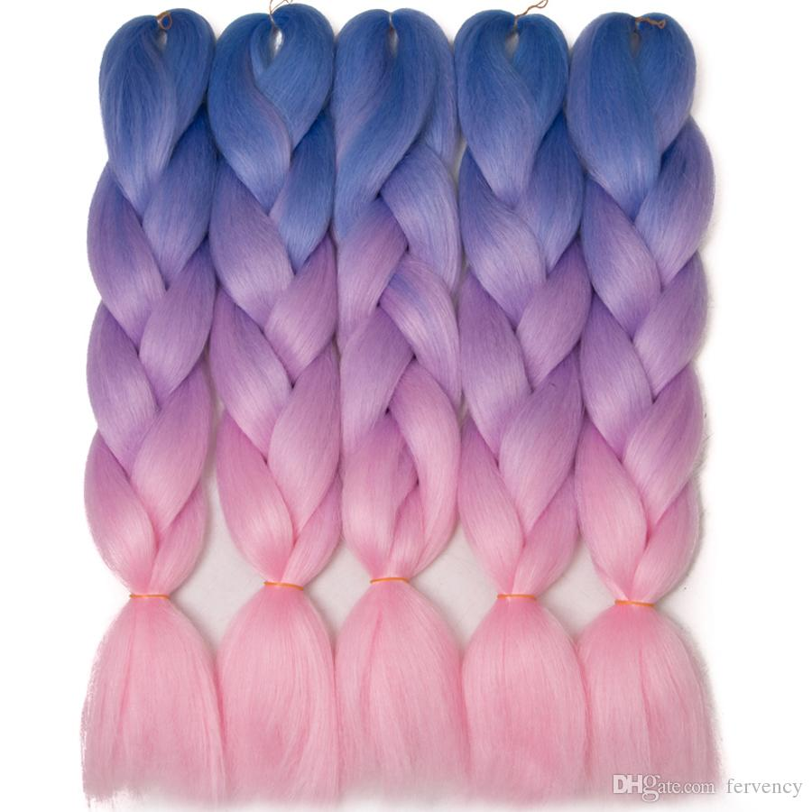 marley braid hair kanekalon Blue Purple Pink hair braids jumbo ombre synthetic braiding yaki straight braids hair extensions for box