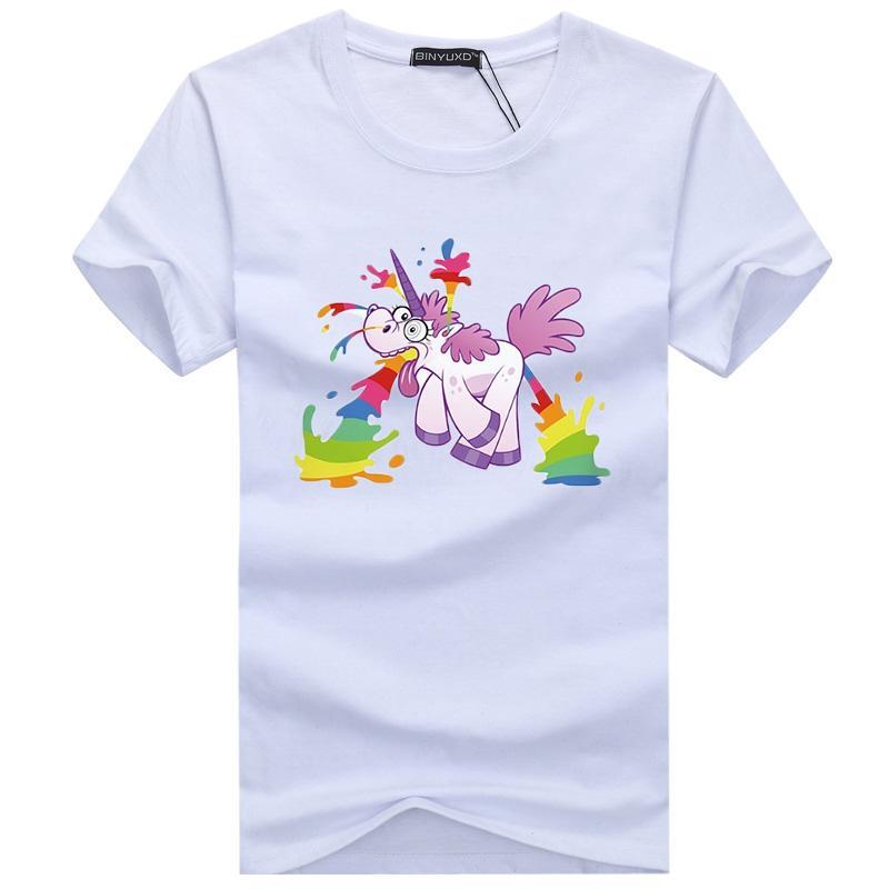 0297162b878 Cool Unisex Unicorn Tshirt Homme Short Sleeve Natural Printed Cute White  Cotton Breathable Shirts Men Designs Shirts Interesting T Shirt Designs  From Yukime ...