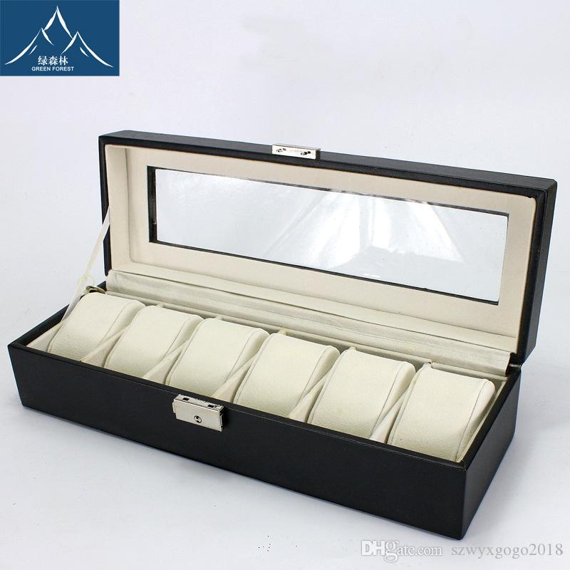 Highgrade Luxury Brand Jewelry Boxes 6 Grid Slots Organizer Watches