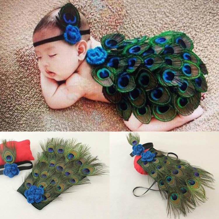 Yenidoğan Bebek Kız Tığ Örgü Tavuskuşu Kostüm Fotoğraf Fotoğraf Prop Bebek Kostüm Kıyafet Bandı Bebek Fotoğrafçılığı