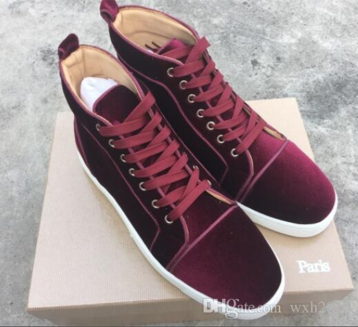 c2b99cd31e6 Compre Zapatos De Hombre De Terciopelo Negro Rojo Azul Zapato De Fondo Rojo Zapatos  Casuales De Encaje Alto Con Cordones Zapatos De Boda De Lujo De La ...