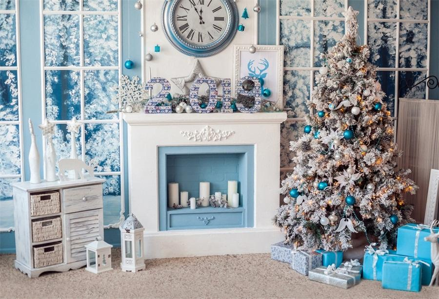 Laeacco Christmas New Year 2019 Fireplace Scene Baby Photography  Backgrounds Custom Photographic Backdrops For Photo Studio