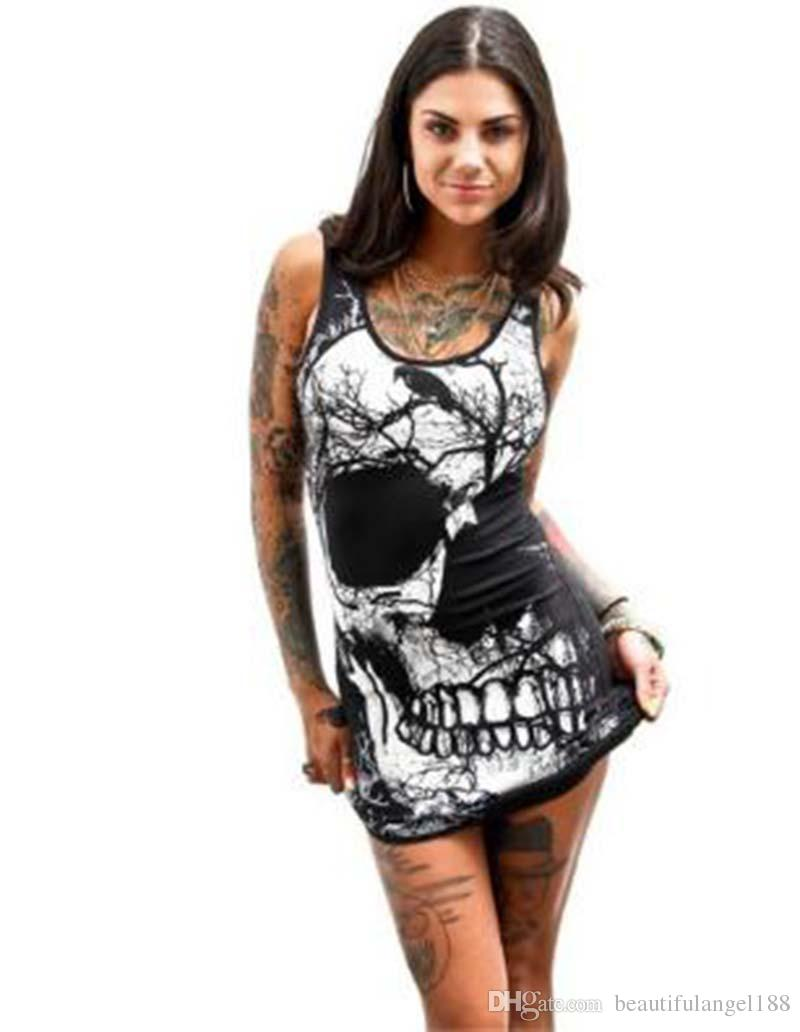 Compre 2018 Hot Selling Women Dress Sexy Cráneo Vestido Sin Mangas Negro  Camiseta Falda Cool Girl Rock Calle Verano Largo Chaleco Tanque A  13.77  Del ... 82c903087f53