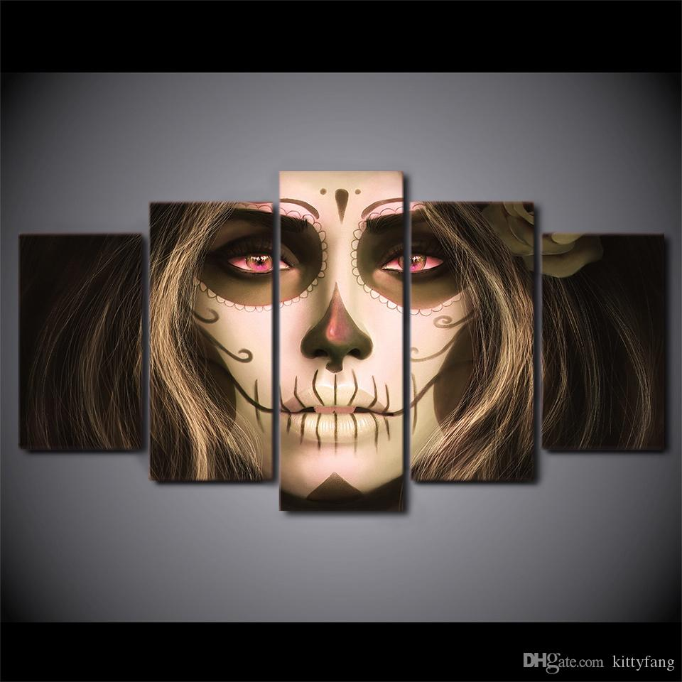 5 Piece Framed HD Printed Day of the Dead Face Girl Still Life Canvas Painting Wall Art Picture Home Decor For Linving Room