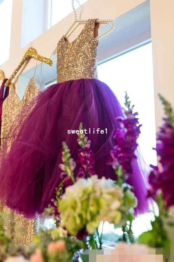 2906f4930 2018 Purple Tulle Flower Girls Dresses Gold Sequins Puffy Ball Gown  Princess Kids Formal Wear First Communion Dresses Holy Dresses Sale Flower Girl  Dresses ...