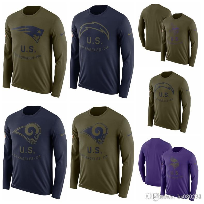 Los Angeles Chargers Los Angeles Rams Minnesota Vikings Patriots Salute To Service  Sideline Legend Performance Long Sleeve T Shirt UK 2019 From Hs080234 6b82391fd