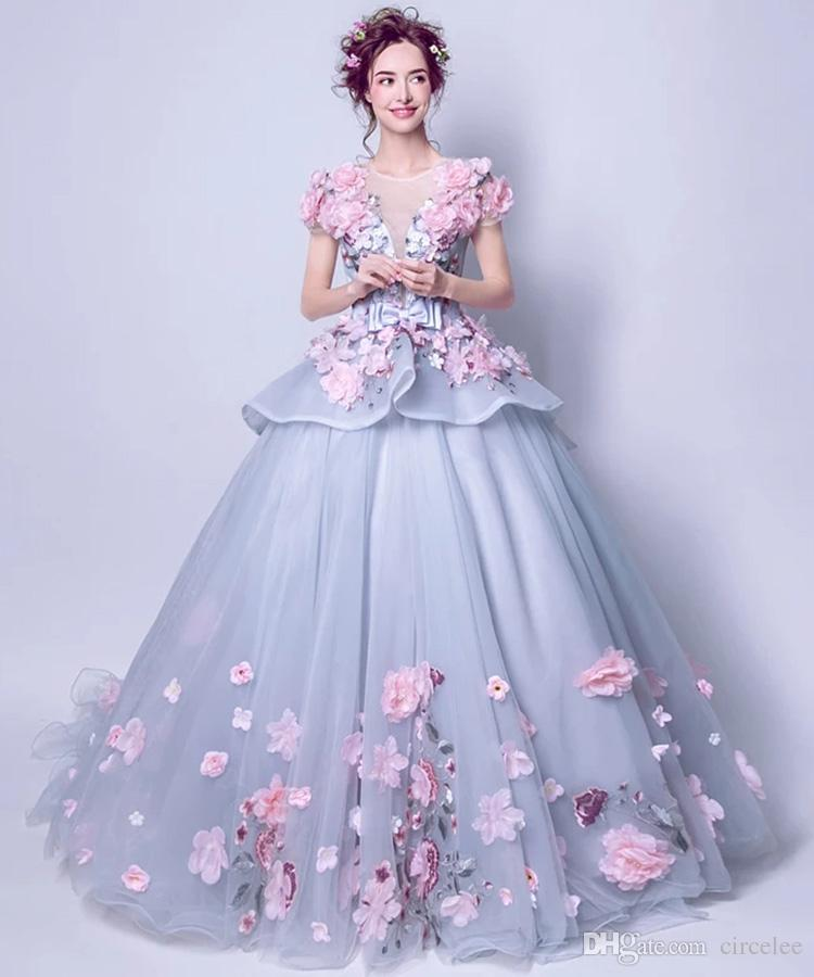 Pastel Colored Wedding Gowns: Flower Fairy Sexy Hollow Embroidery Pastels Tulle Ball