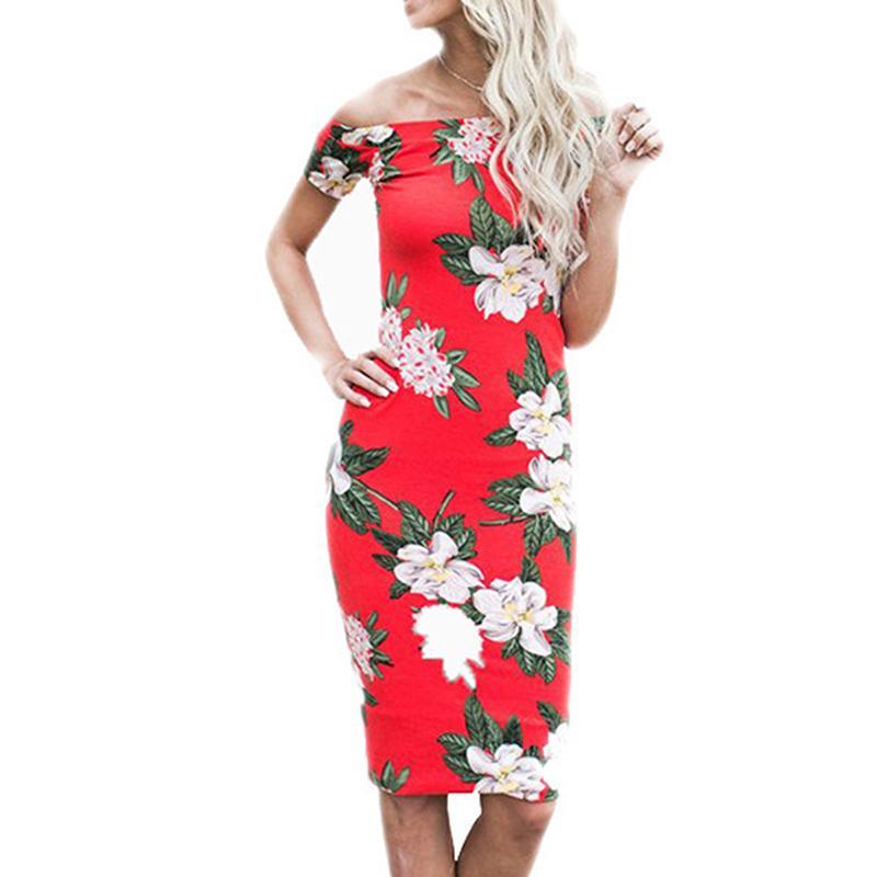 d0d85bb47e3 2018 Summer Vintage Women Off Shoulder Midi Floral Print Slim Beach Boho  Dresses Casual Fashion Female Club Evening Party Dress Lace Summer Dress  Dresses ...