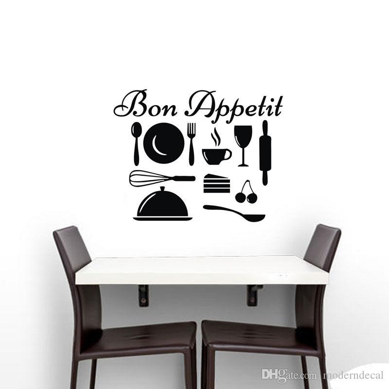 Acheter Batterie De Cuisine Stickers Muraux Pour Cuisine Français Bon  Appetit Stickers Muraux Vinyle DIY Décor À La Maison De $7.24 Du  Moderndecal | DHgate.