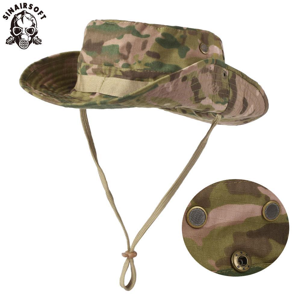 Compre SINAIRSOFT Algodón Táctico Boonie Sombreros Gorras De Ala Ancha Sombrero  Para El Sol Sombrero Bonnie Al Aire Libre Safari Safari Gorra Para Pescar  ... 62fcf7e1f0e