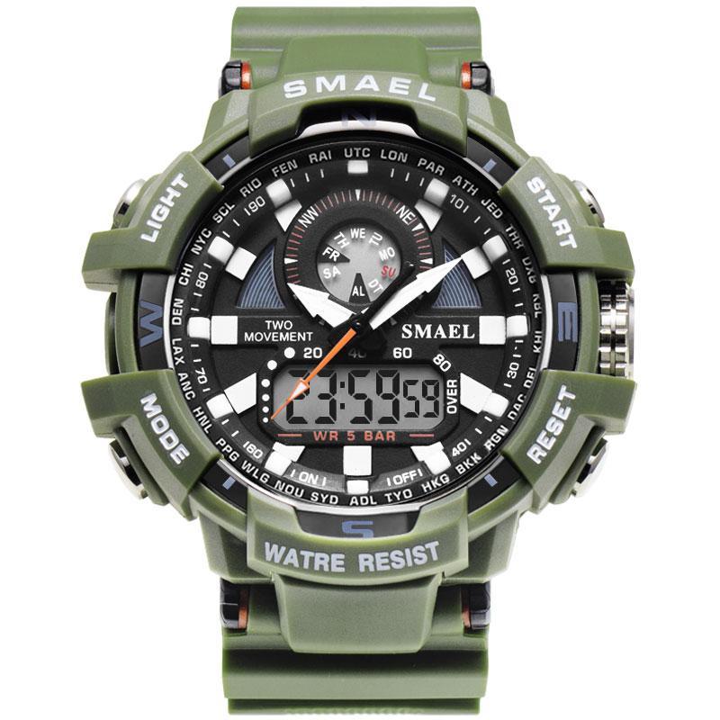 a3d9174b010a Compre 2018 Nuevos Hombres Relojes Deportivos Moda Cool Watch Top Marca  Smael Army Green Silicona Dual Display Analógicos Relojes Digitales A   22.08 Del ...