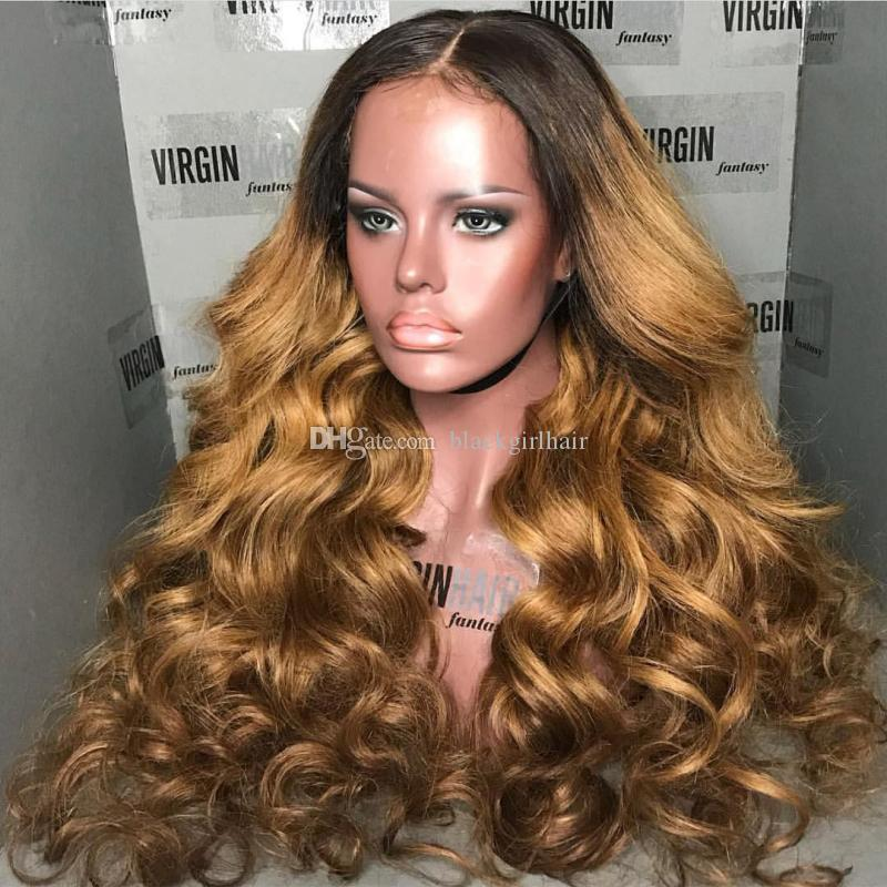 1b / 27 ombre parrucche dei capelli umani pre pizzicate glueless parrucche piene del merletto con i capelli del bambino candeggiati nodi capelli remy parrucche brasiliane