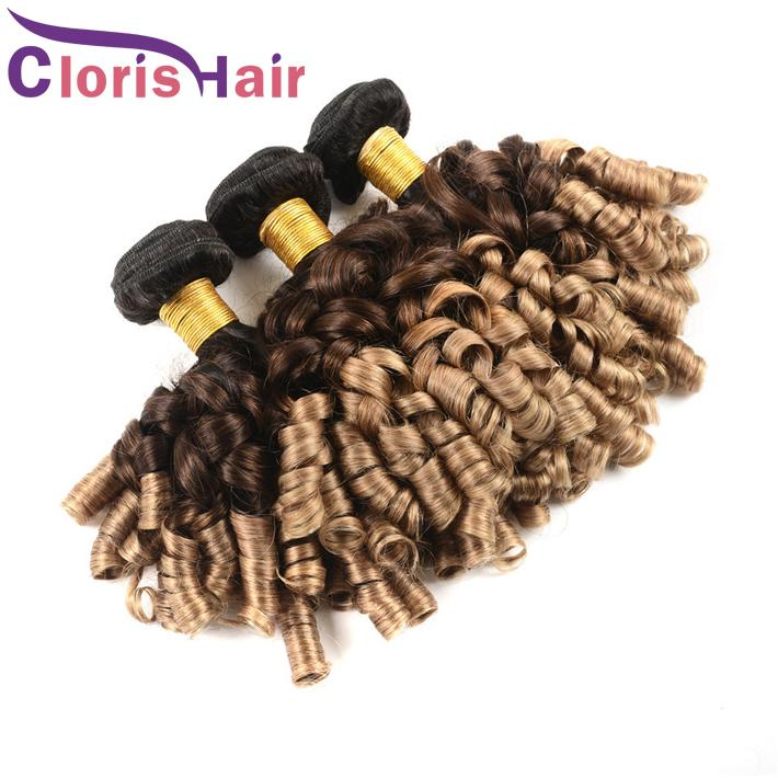 Spring Curly Malaysian Virgin Hair Ombre Weave T1b/4/27 Aunty Funmi Romance Curls Human Hair Bundles Colored Blonde Ombre Hair Extensions