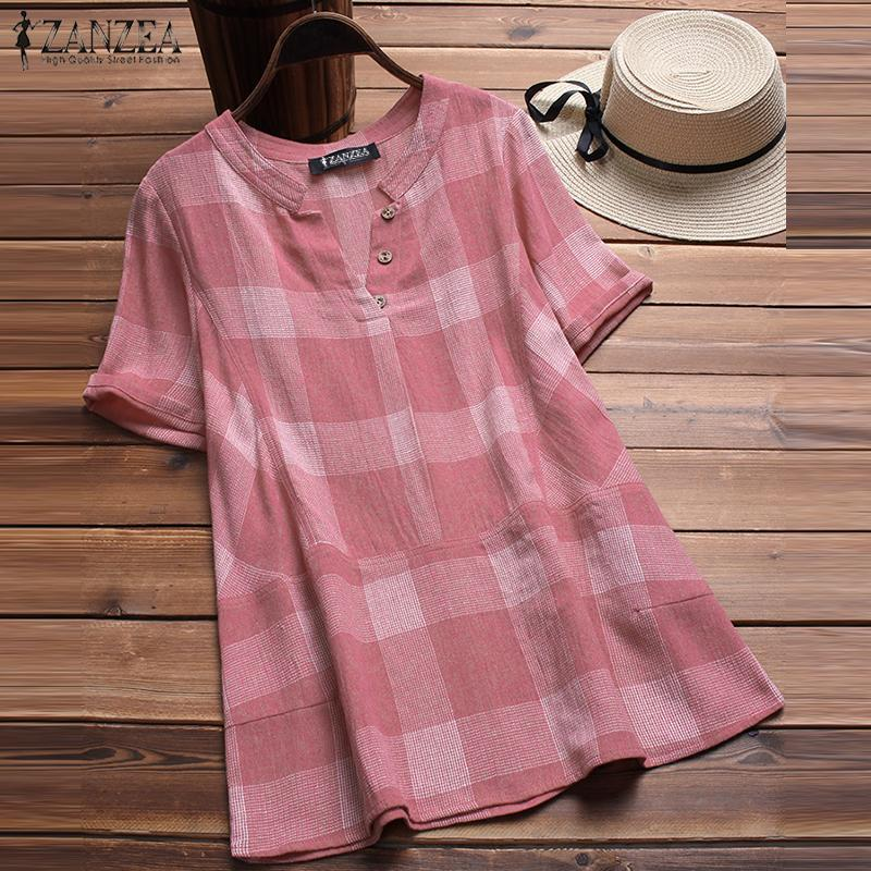 03ced049 2019 2018 Summer ZANZEA Women V Neck Short Sleeve Loose Work OL Shirt  Casual Cotton Linen Top Plaid Check Party Blouse Blusas S 5XL From  Edward03, ...