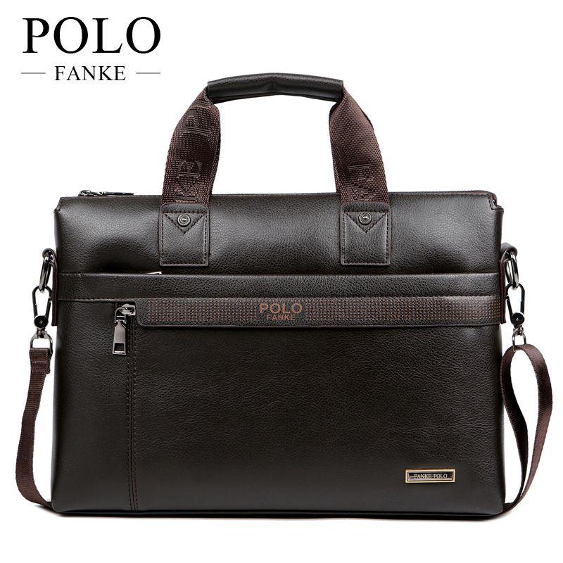9ae490f3f584 FANKE POLO Leather Handbags Mens Business Briefcases Man Vintage Shoulder  Crossbody Bags Fashion Messenger Laptop Office XB114N Leather Handbags  Fashion ...
