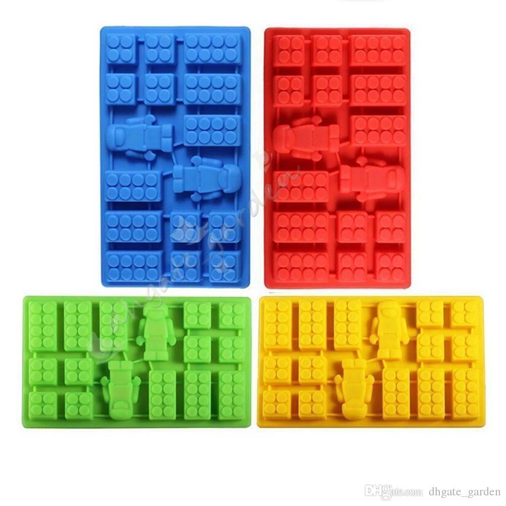 Kare ve Robot 2 1 Lego Oyuncak Tuğla Şekli Silikon Fandont Çikolata Kalıp Ice Cube Kalıp Kek Bakeware fondan kek araçları