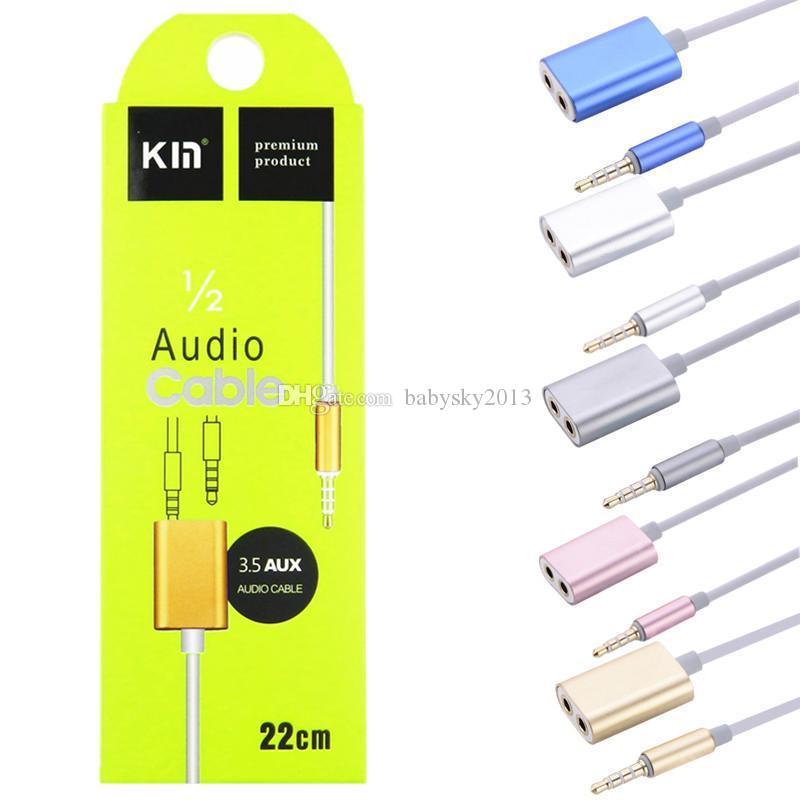 Audio Cable Splitter 1 Maschio a 2 Femmina Audio Splitter Adattatore 3.5mm Doppio Jack Splitter Cavo iPod iPhone 7 6 5 Mp3 Mp