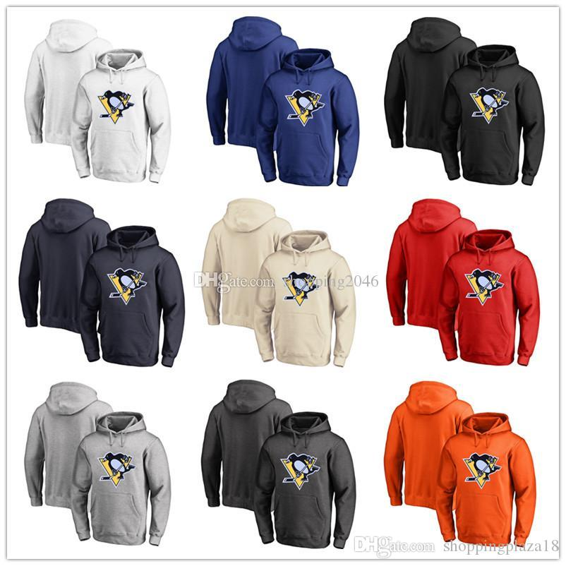 Men's Pittsburgh Penguins Fanatics Branded Black Ash White Red Orange  embroidery Primary Logo Pullover Hoodies long Sleeve Outdoor Wear