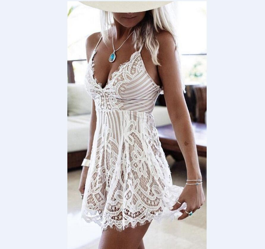 48765f81c304d Womens Hollow Out Waist Mini Dress 2019 Summer White Basic Dress Sleeveless  V Neck Short Party Dresses Beach Dress Plus Size Evening Dresses Plus Size  Dress ...