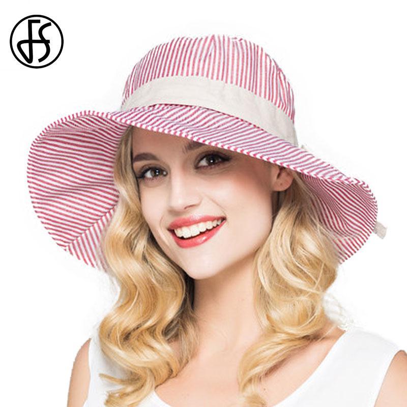 Compre Verão De Algodão Chapéu De Sol Para Womens Moda 2017 Wide Brim Floppy  Sun Viseiras Tarja Elegante Casual Praia Hat Preto   Vermelho   Rosa De ... 7decb05517d