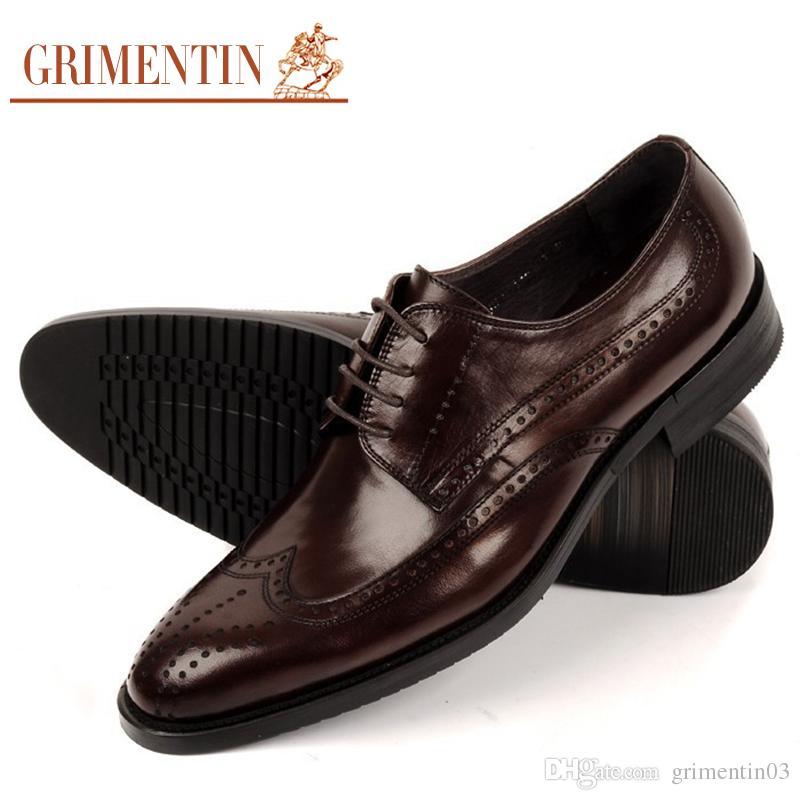 814a2150d GRIMENTIN Hot Sale Men Oxford Shoes Men Genuine Leather Shoes Italian  Fashion Black Brown Formal Business Weddng Mens Dress Shoes Shoes Online  Basketball ...