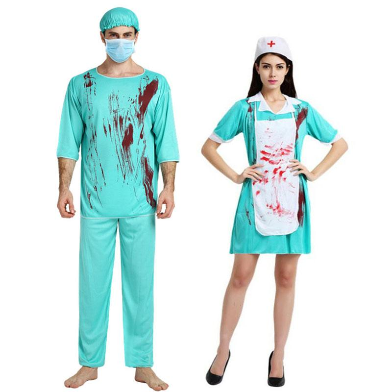 26a12a6037 Acquista Umorden Carnival Party Halloween Bloody Doctor Infermiera Costumi  Uomo Donna Coppia Adulto Spaventoso Medico Zombie Costume Cosplay Dress A  $30.32 ...