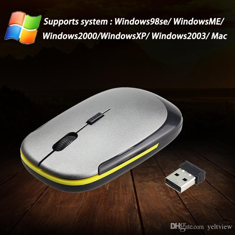 Ratón inalámbrico en forma de U Ultra delgado 2.4GHz 800 / 1600DPI Ratón óptico para juegos Receptor USB Mini ratones para PC portátil con caja al por menor