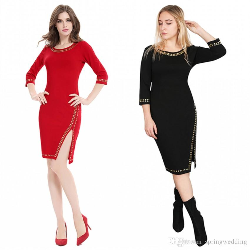 3eeca1dbf3a 2019 Solid Red Black Sheath Women Dresses 2018 Vintage 3 4 Sleeves Bodycon  Women Work Dress With Split FS3873 From Springwedding
