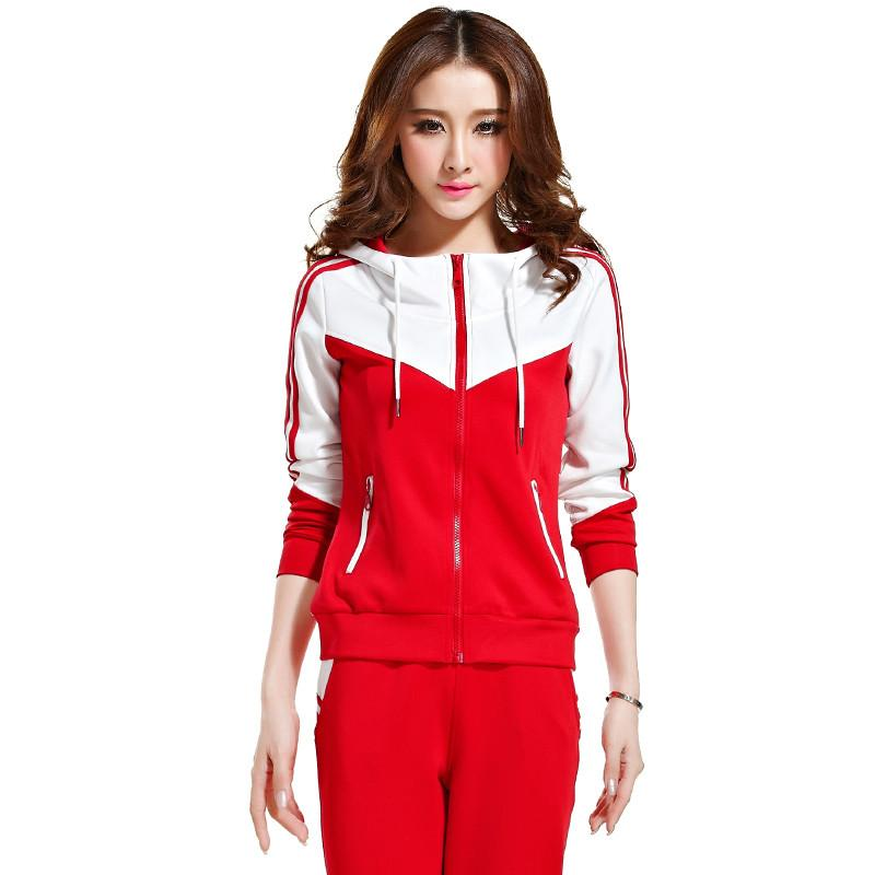 Plus Size M -5xl Autumn 2 Piece Set Womens Sporting Suits Zipper Hoodies +Pants Striped Sportswear Female Tracksuit