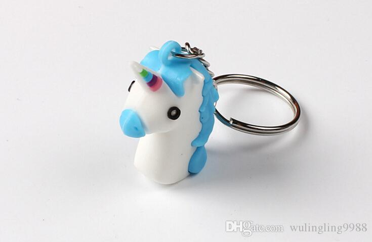 الأزياء 3d يونيكورن سلاسل المفاتيح لينة pvc الحصان المهر يونيكورن حلقة رئيسية حقيبة معلقة الإكسسوارات لعبة الهدايا