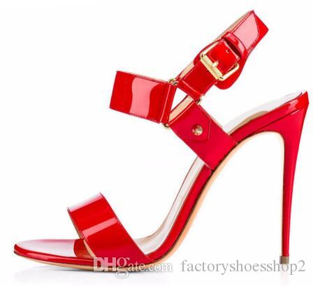 071c52c7edf8 Shiny Black Nude Red Sandals 2018 For Women Open Toe Buckle Strap Ladies  Strappy High Heel Summer Shoes Stiletto Dress Heels Birkenstock Sandals  Shoes For ...