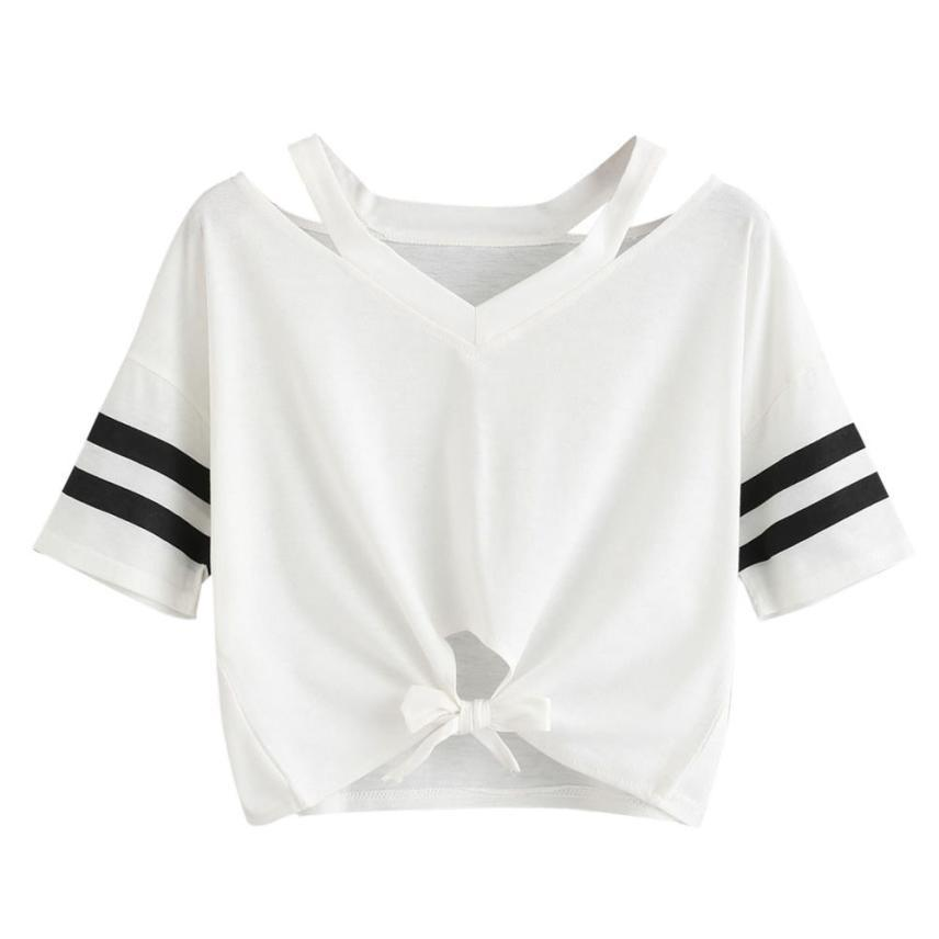 ebcf82e6de0f77 Women Short T Shirt Summer Short Sleeve Cut Out V Neck Casual Crop Tops  Ladies Striped Sleeve Bow Tied Tees  L Buy T Shirts Online T Shirt From  Paluo