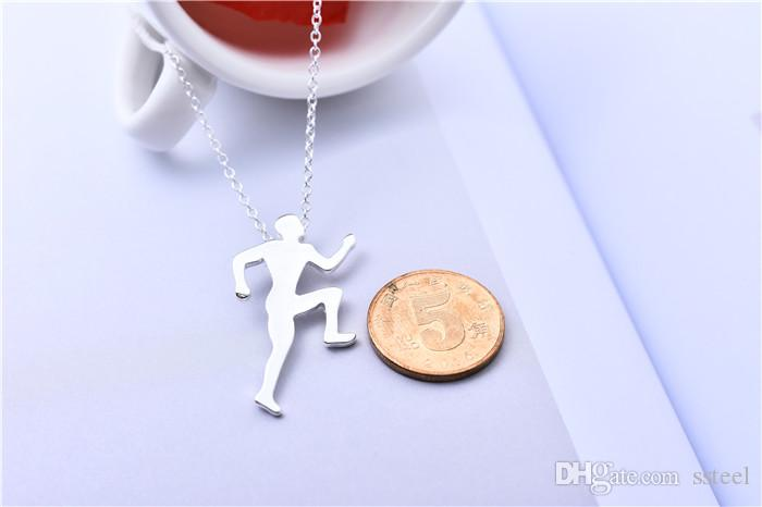 10pcs Sports Man Running Man Boy Pendant Necklace Human Pattern Athlete Charm Chain Necklace Jewelry for Friends