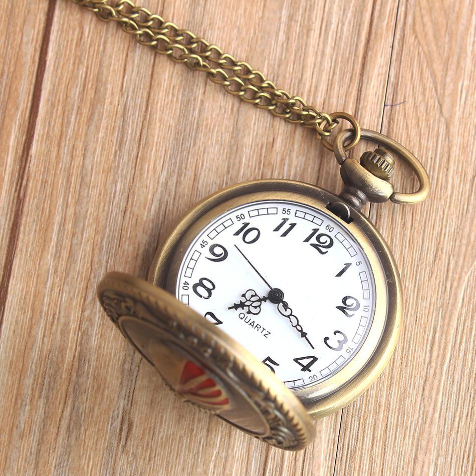 Retro Anime Mask Star Trek Pocket Watch Necklace with Chain for men Train Skull Quartz Fob Watches Relogio De Bolso Metal Clock