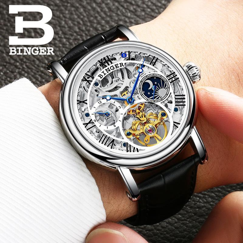fc9ef32f6a2 Compre Suíça BINGER Relógios Homens De Luxo Da Marca Tourbillon Relogio  Masculino À Prova D  água Relógios De Pulso Mecânicos B 1171 4 De  A799956998
