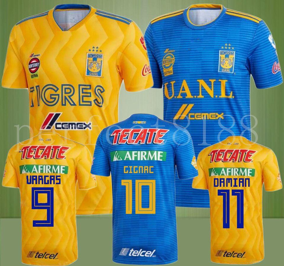 2dba8d547faef 2018 2019 Tigres UANL Camisetas De Fútbol Mexico Club Local Yellow 6 Stars  GIGNAC Vargas H. Ayala SOSA Uniforme Azul Camisetas De Fútbol Por  Perfect8188