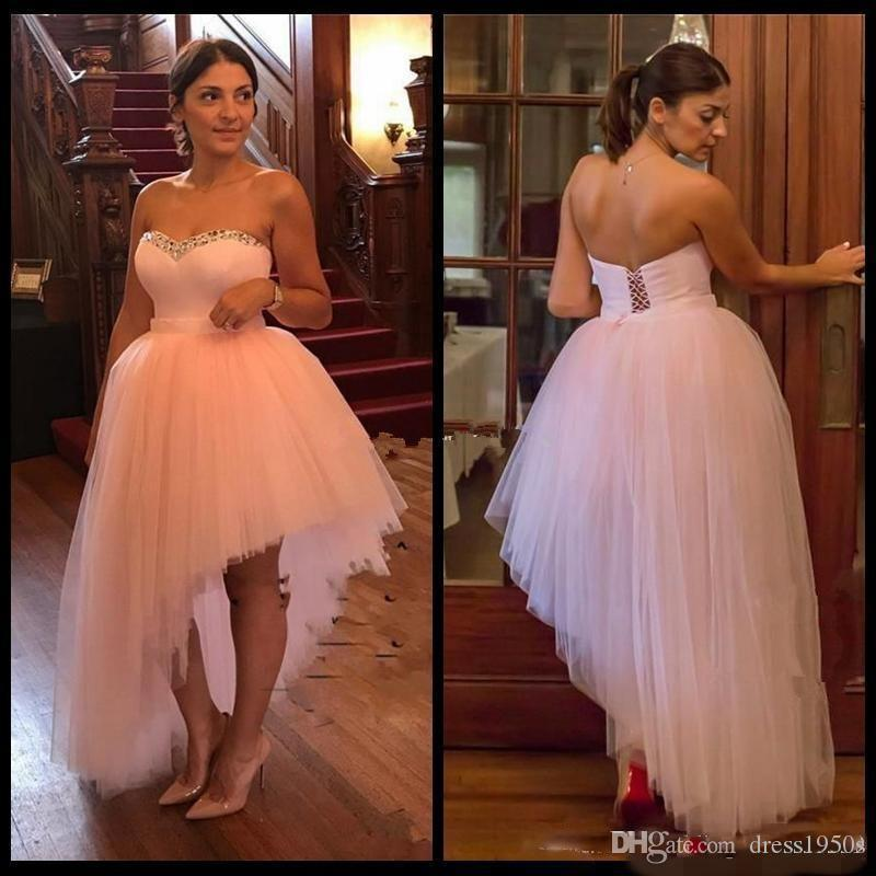 2018 Blush Pink High Low A Line Prom Dresses Backless lace up corset Puffy Train plus size Evening Party Gowns Formal Dress