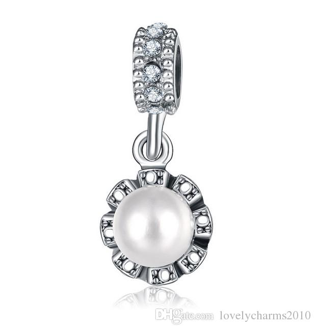 Fits Pandora Bracelets White Pearl Silver Crystal Charms Pendant Beads Silver Charms Bead For Wholesale Diy European Necklace Jewelry